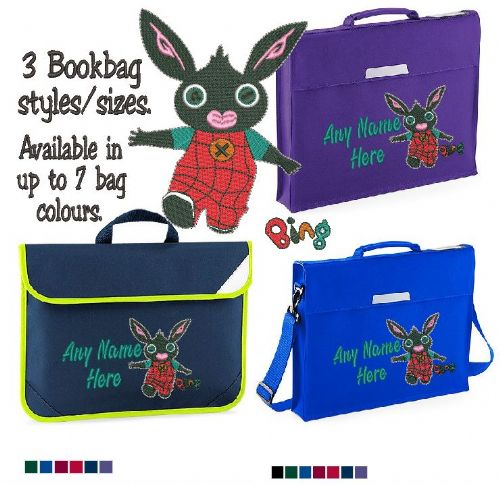 Bing bunny design Book bag - available in choice of sizes, colour and spec.  Personalised
